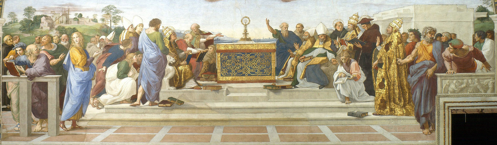 painting entitled Disputation of the Holy Sacrament by Raffaello Sanzio da Urbino